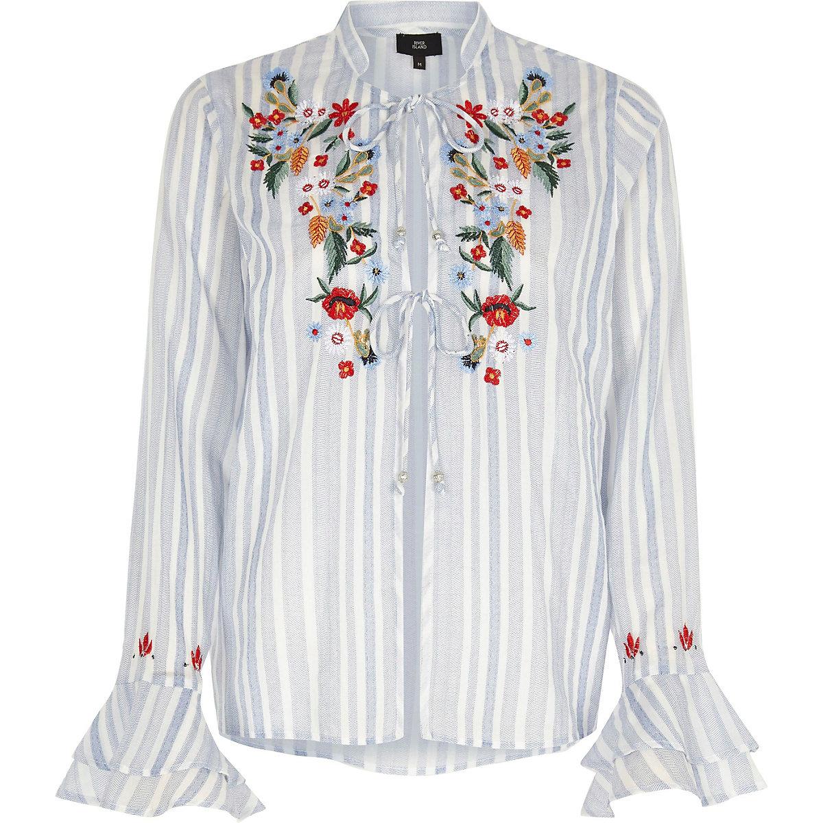 Blue stripe embroidered frill pajama top