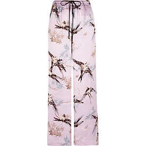 Purple satin bird print palazzo pyjama bottom