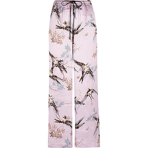 Purple satin bird print palazzo pajama bottom