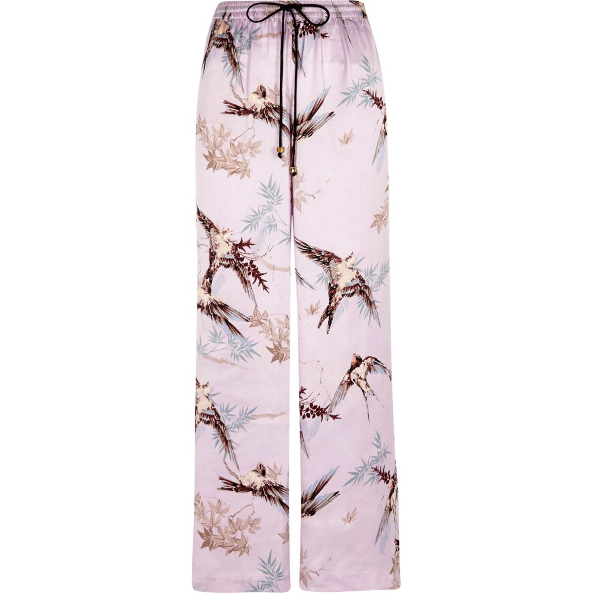 Purple satin bird print palazzo pyjama bottom
