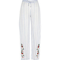 Blue stripe embroidered pyjama trousers
