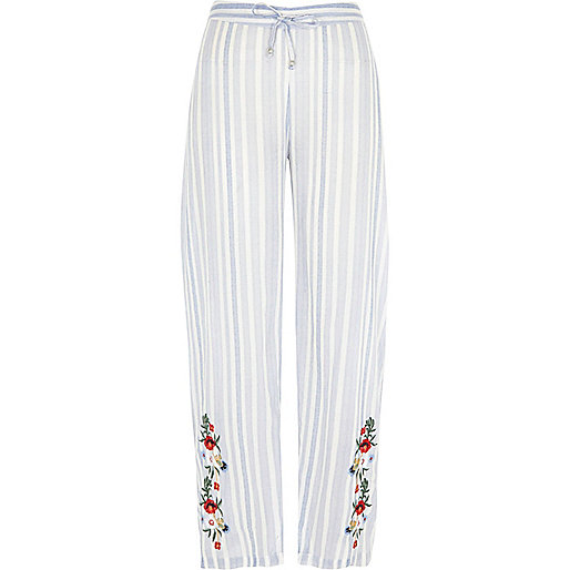 Blue stripe embroidered pajama pants