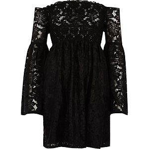 Black lace shirred bardot bell sleeve dress