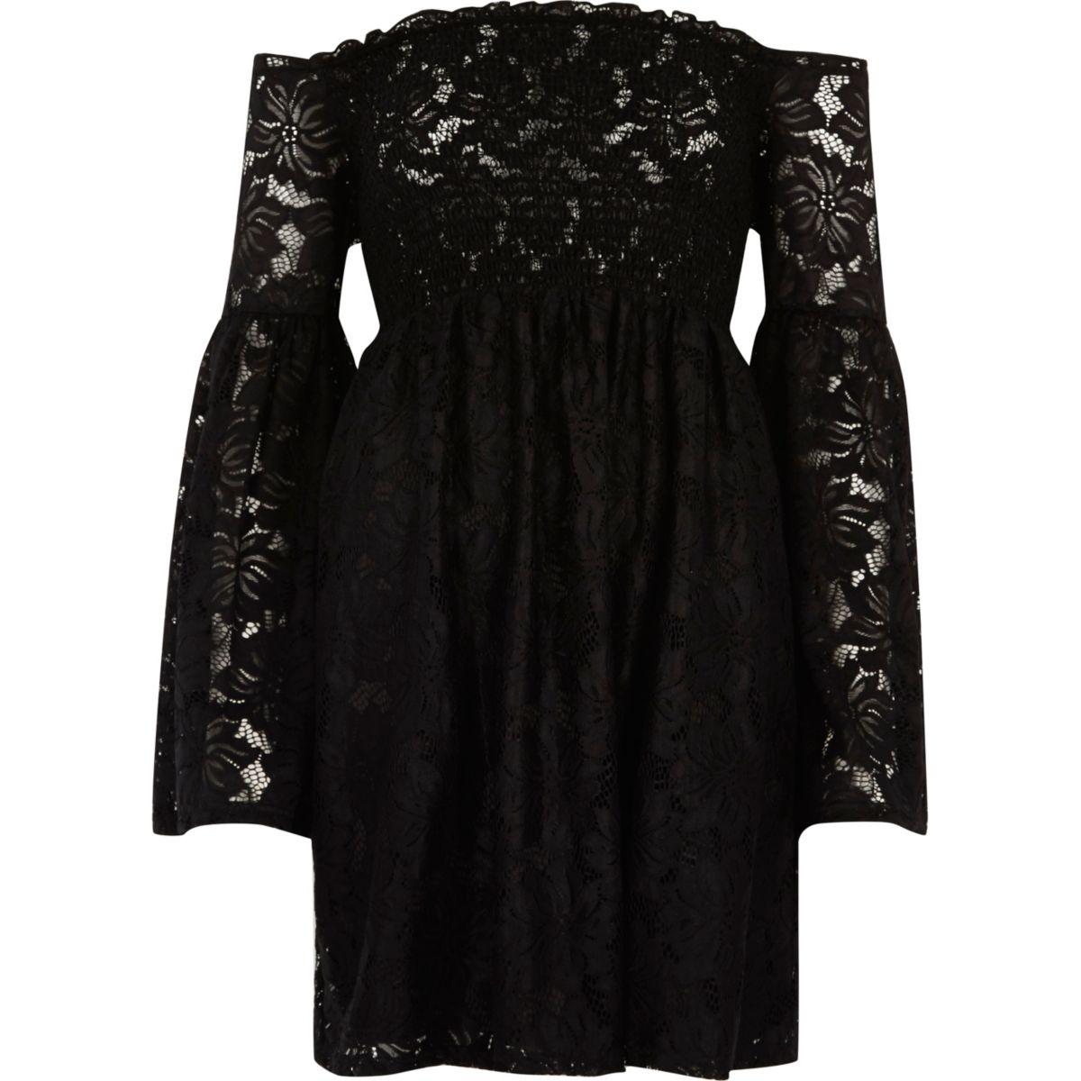 Black lace shirred bardot bell sleeve dress