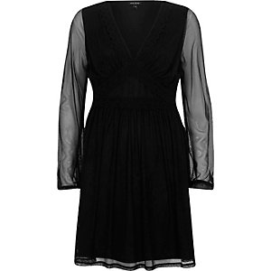Black mesh sleeve V neck dress