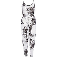 Jersey-Overall mit Blumenmuster in Mono