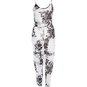 Witte jersey jumpsuit met zwarte bloemenprint