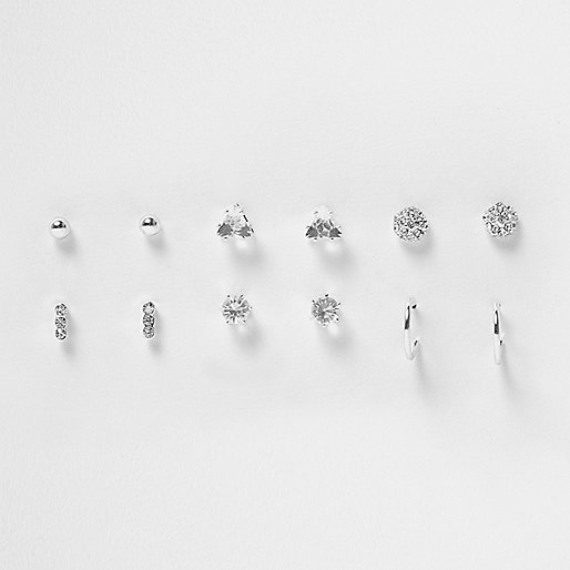 Silver tone rhinestone stud earrings pack