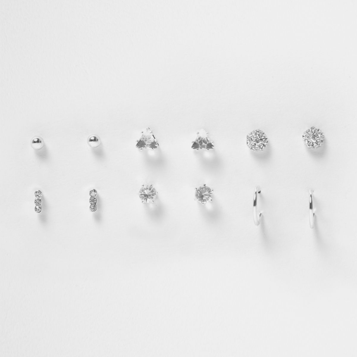Silver tone diamante stud earrings pack