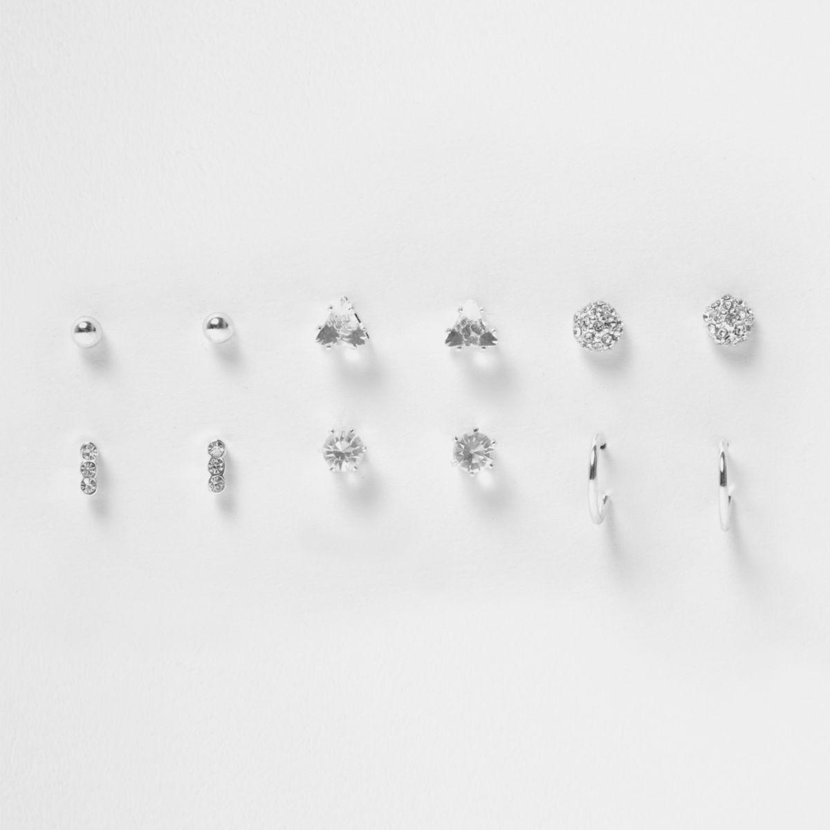 Silver tone rhinestone stud earrings pack