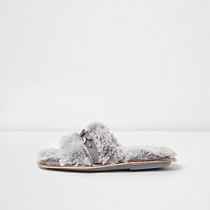 Grey fluffy rhinestone trim slider slippers