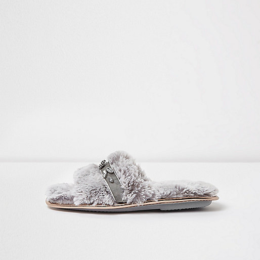 Grey fluffy diamante trim slider slippers