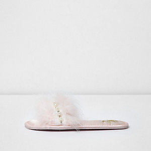 Light pink embellished feather mule slippers
