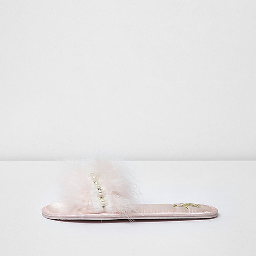 Light pink embellished feather slippers