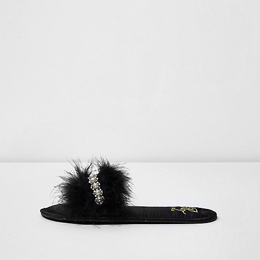 Black feather embellished slippers