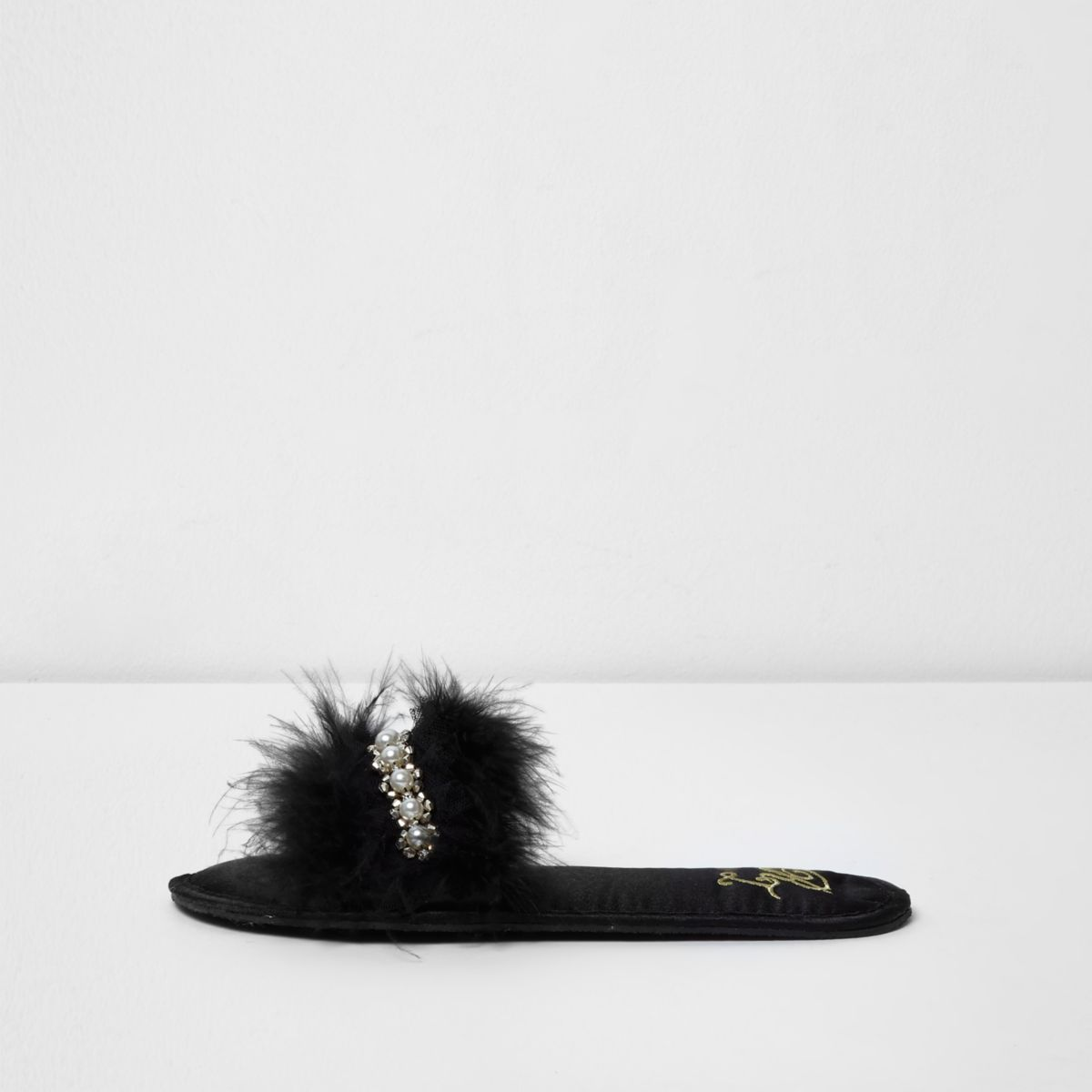 Black feather embellished mule slippers
