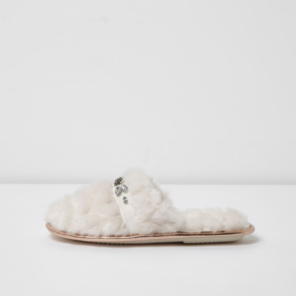 Cream quilted fluffy rhinestone mule slippers