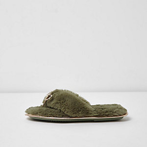 Khaki green fluffy bow flip flop slippers