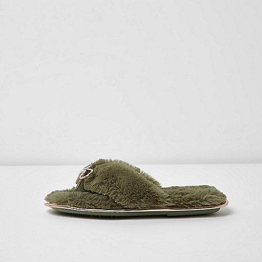 Khaki green faux fur bow flip flop slippers