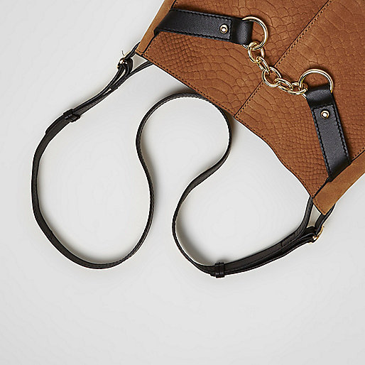 Beige cross body chain suede bag