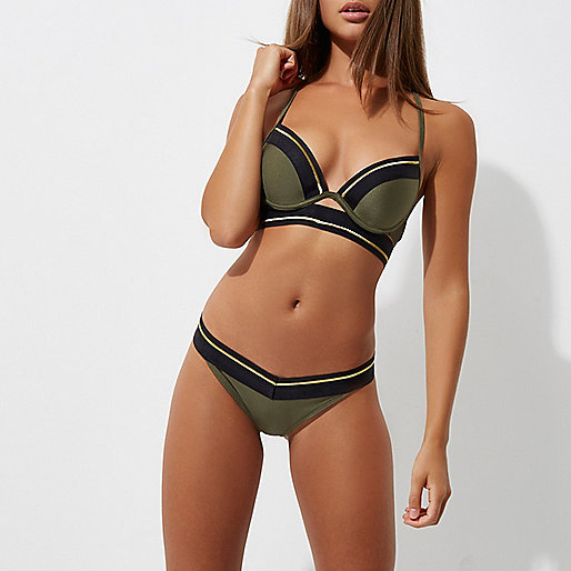 Khaki green sporty tipped bikini bottoms
