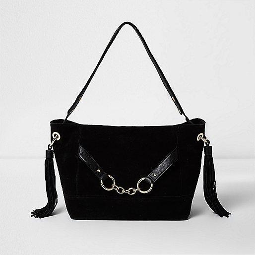 schwarze ledertasche mit kette schultertaschen taschen. Black Bedroom Furniture Sets. Home Design Ideas