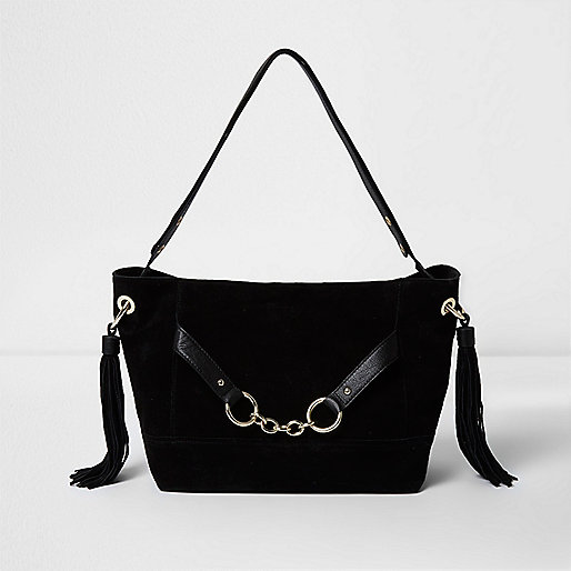 Black leather chain front slouch bucket bag