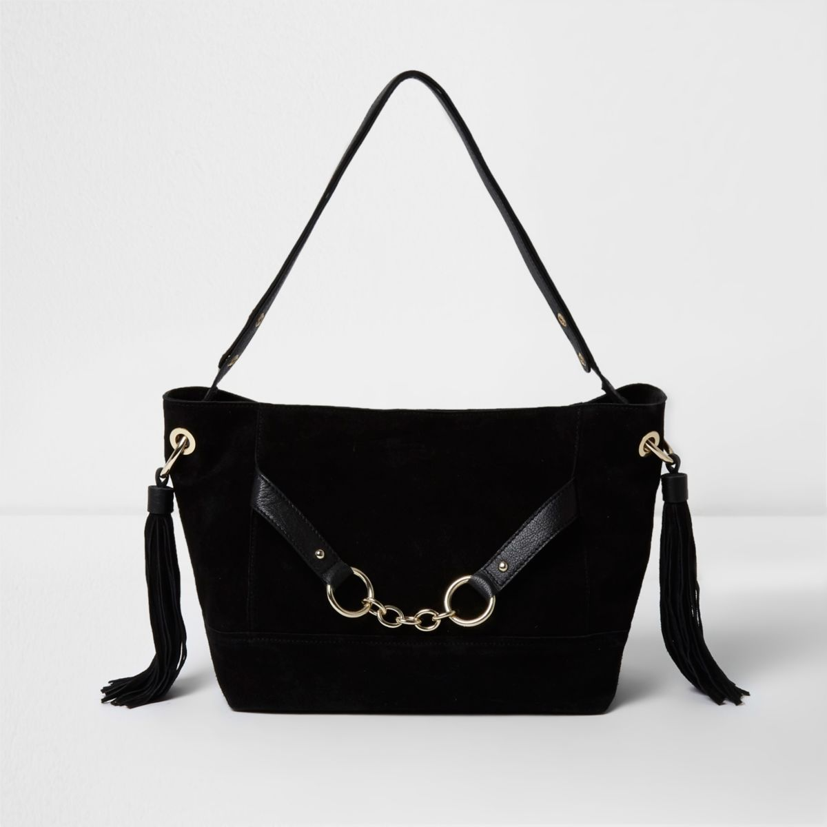 Black suede chain front slouch bucket bag