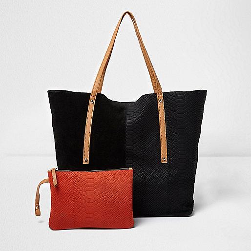 Zwart met bruine leren handtas met zij-inzetten