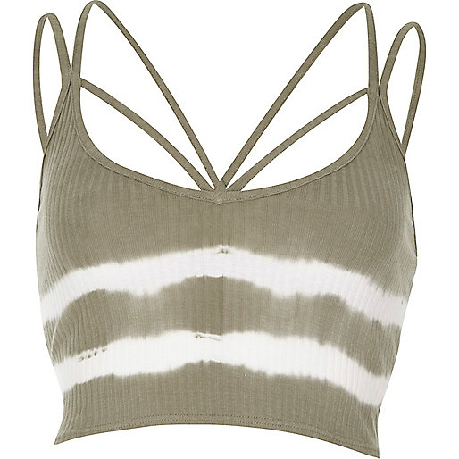 Khaki tie dye strappy crop top