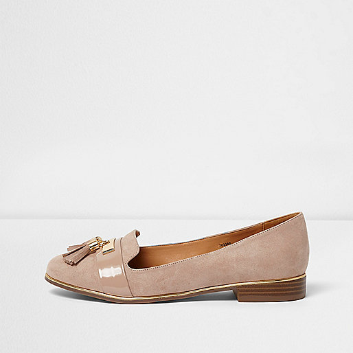 Light pink tassel loafers