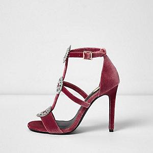Pink velvet rhinestone caged sandals