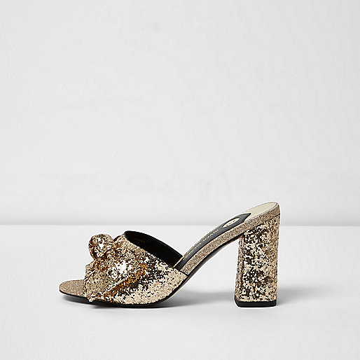 Gold glitter bow block heel mules
