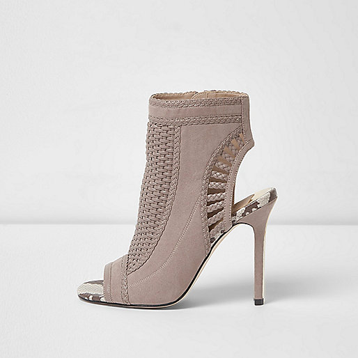 Light grey woven shoe boots