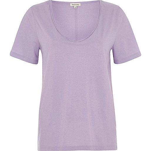 Purple scoop neck T-shirt