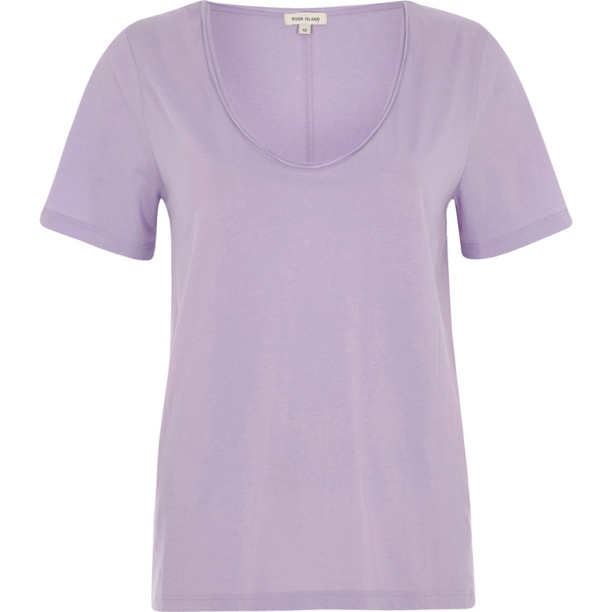 T-Shirt in Lila mit U-Ausschnitt