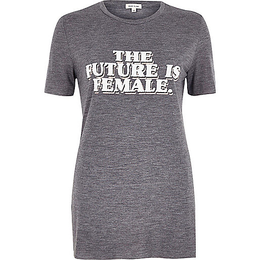 Grey marl 'the future is female' T-shirt