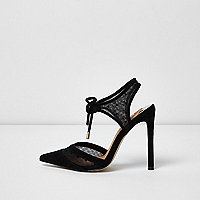 Black two part dobby mesh court shoes