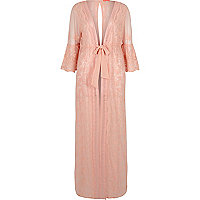 Light pink floral embroidered maxi caftan