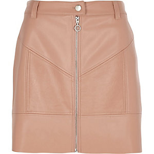 Beige faux leather zip front mini skirt