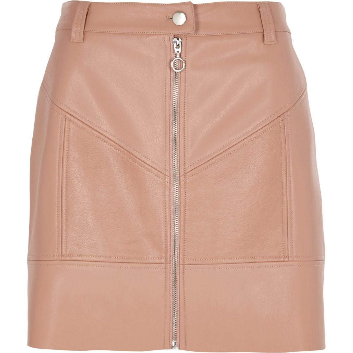 Beige faux leather zip front mini skirt