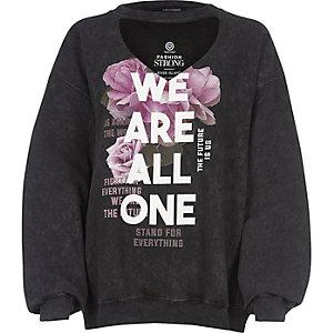 Black Fashion Strong print choker sweatshirt