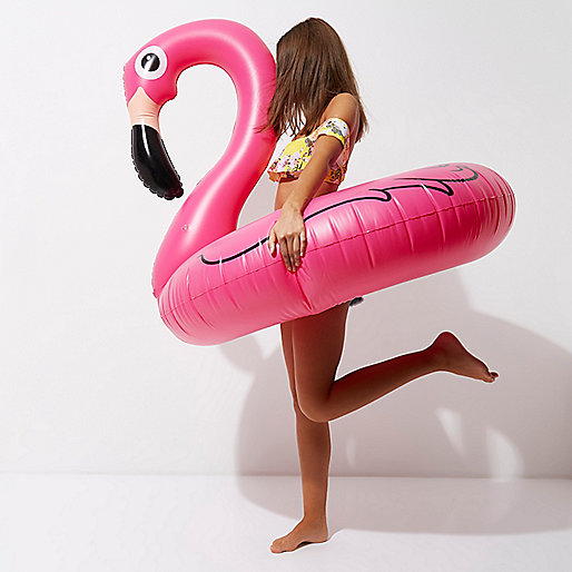 Pink inflatable flamingo pool float