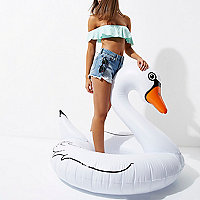Inflatable white swan pool float