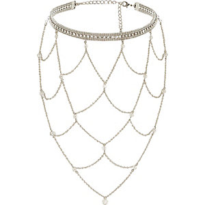 Silver tone ladder choker necklace