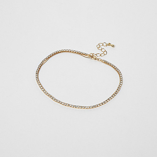 Gold tone cup chain anklet