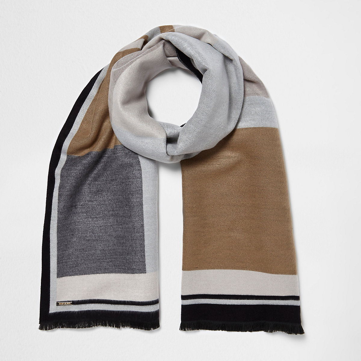 Cream and grey blocked blanket scarf