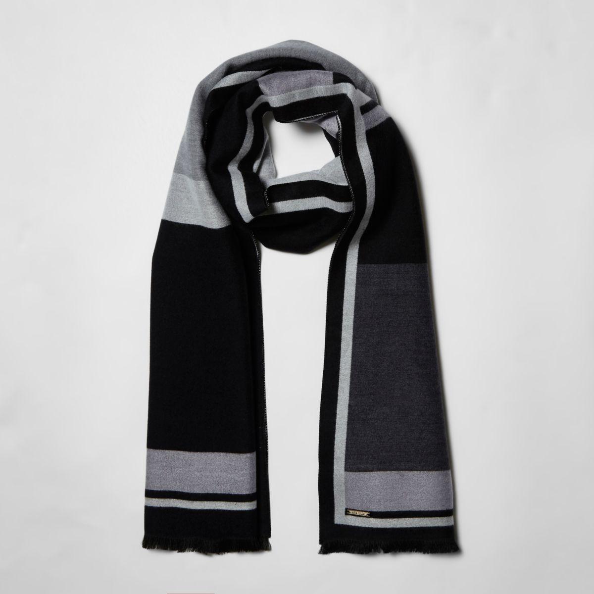 Black mono block print blanket scarf