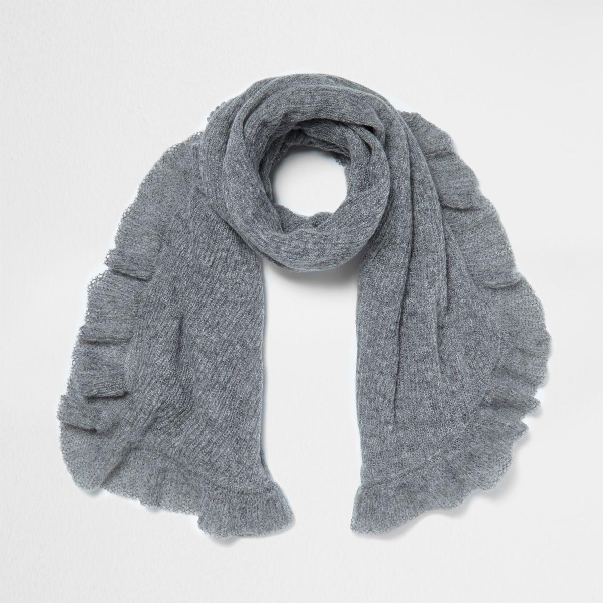 Grey frill hem knit scarf