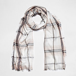 Cream check lurex scarf